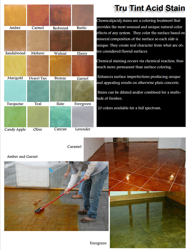 Picture of acid stain colors for concrete.