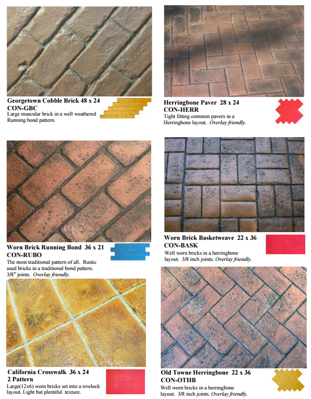 Picture of stamped concrete brick patterns.