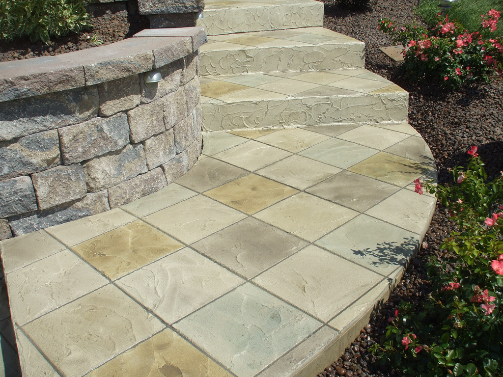Picture of a stamped concrete steps.