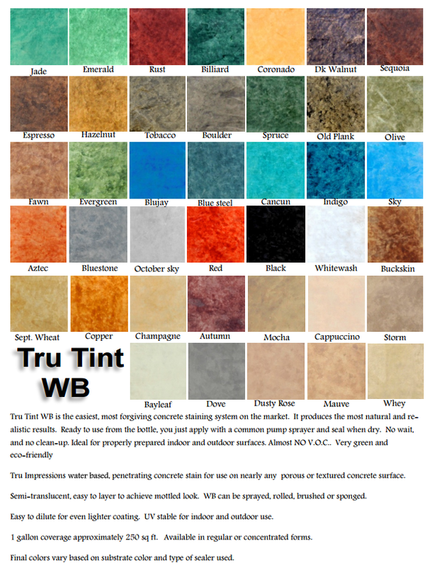 Picture of many different colors for stained concrete.