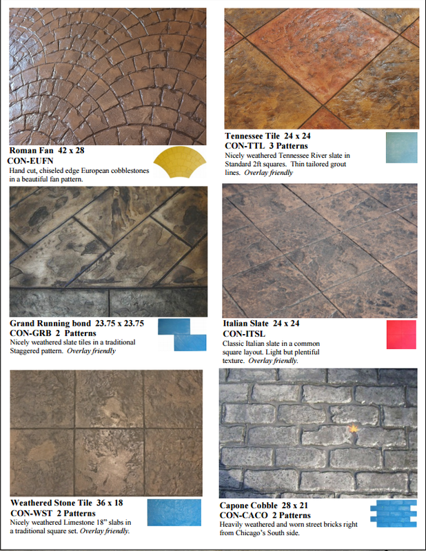 Picture of different stamped concrete designs.